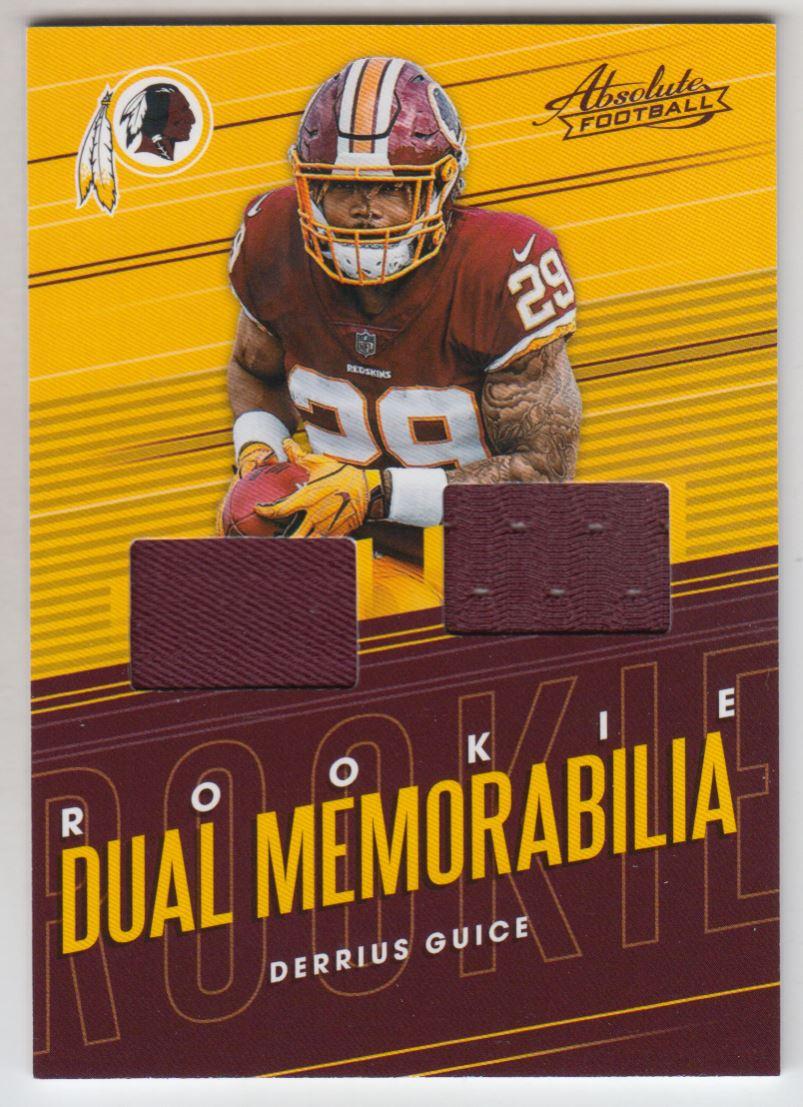 2018 Absolute Rookie Dual Memorabilia  8 Derrius Guice Jersey  1c6b48552