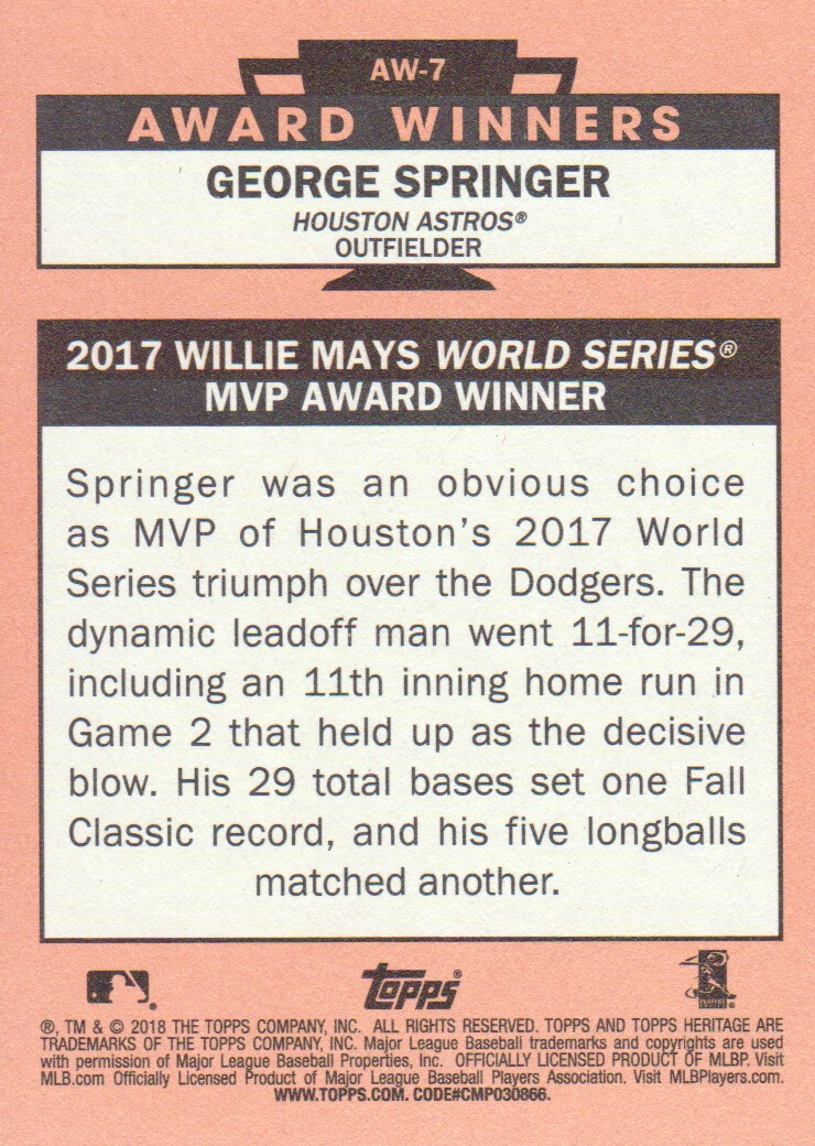 Details about 2018 Topps Heritage Award Winners #AW-7 George Springer  Houston Astros