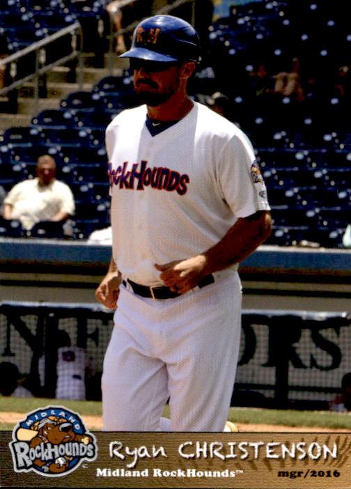 Details About 2016 Midland Rockhounds Grandstand 7 Ryan Christenson Manager Baseball Card