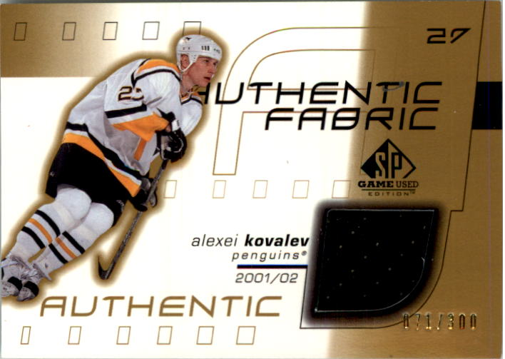 2001-02 SP Game Used Authentic Fabric Gold #AFAK Alexei Kovalev