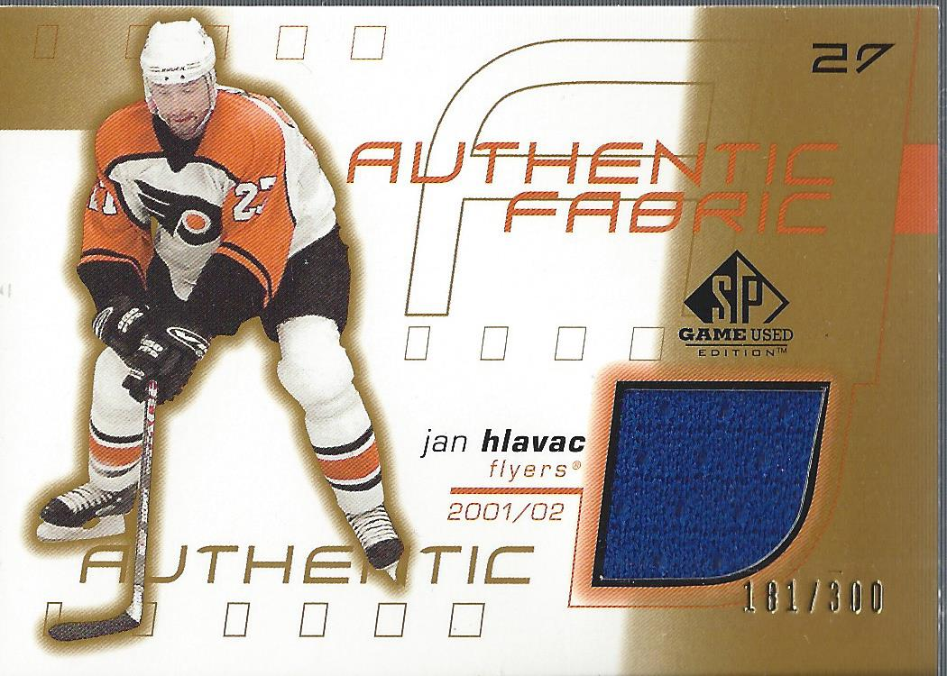 2001-02 SP Game Used Authentic Fabric Gold #AFJH Jan Hlavac