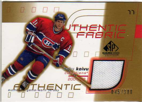 2001-02 SP Game Used Authentic Fabric Gold #AFSK Saku Koivu
