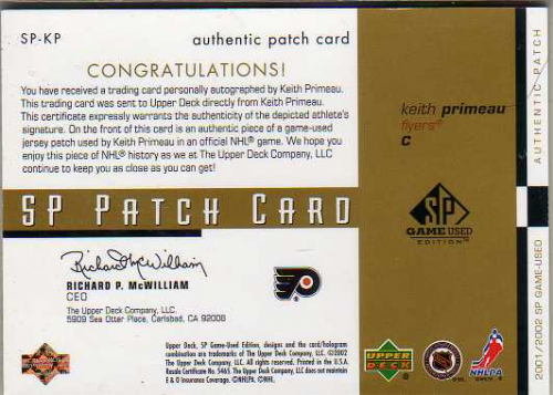 2001-02 SP Game Used Patches Autographs #SPKP Keith Primeau back image