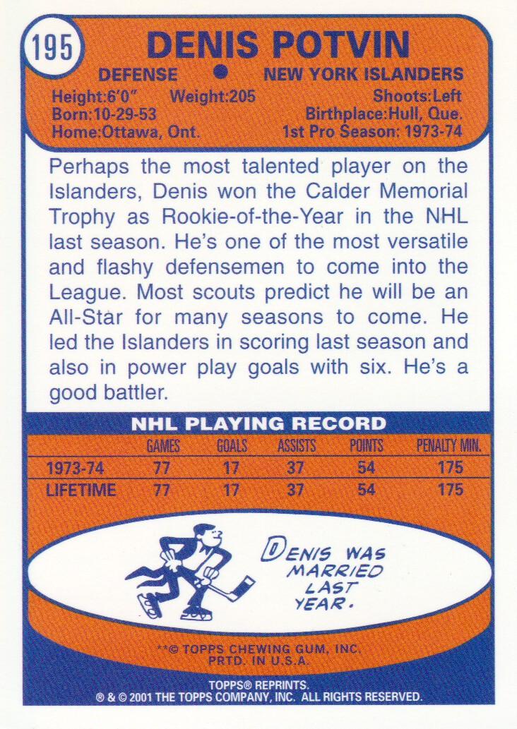 2001-02 Topps Rookie Reprints #1 Denis Potvin back image