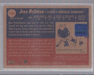 2001-02 Topps Heritage Autographs #AJBE Jean Beliveau back image