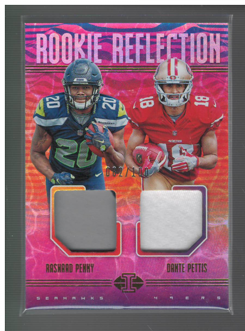 2018 Panini Illusions Rookie Reflection Dual Patches #14 Dante Pettis/Rashaad Penny