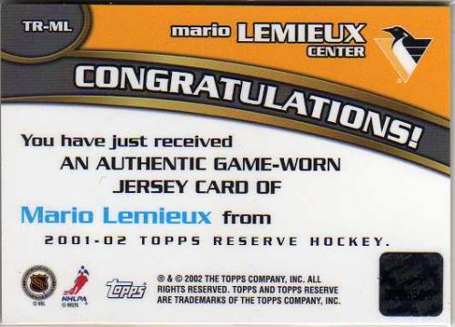 2001-02 Topps Reserve Jerseys #ML Mario Lemieux back image
