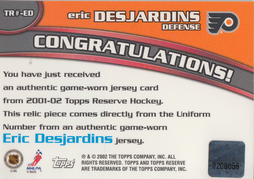 2001-02 Topps Reserve Numbers #ED Eric Desjardins back image