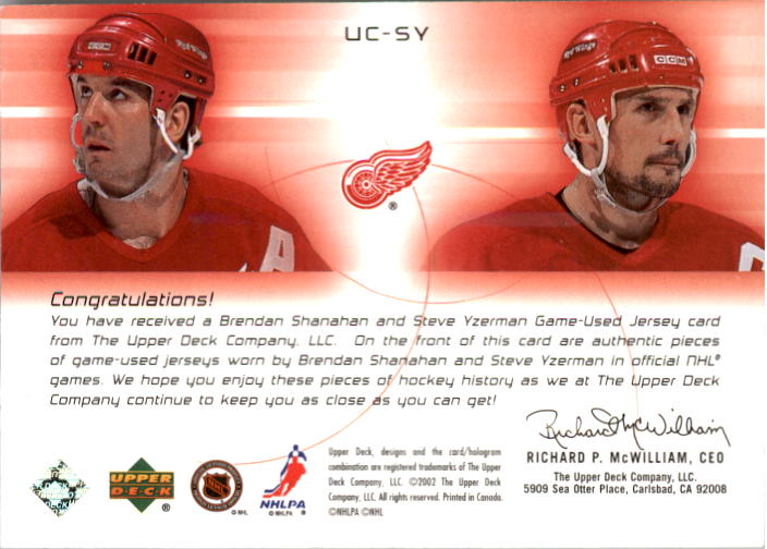 2001-02 UD Challenge for the Cup Jerseys #UCSY Brendan Shanahan/Steve Yzerman back image