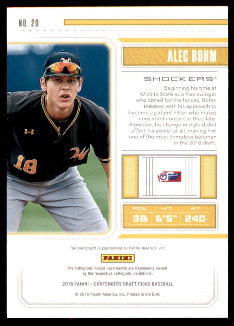 2018 Panini Contenders Draft Picks Draft Ticket Autographs #20 Alec Bohm back image
