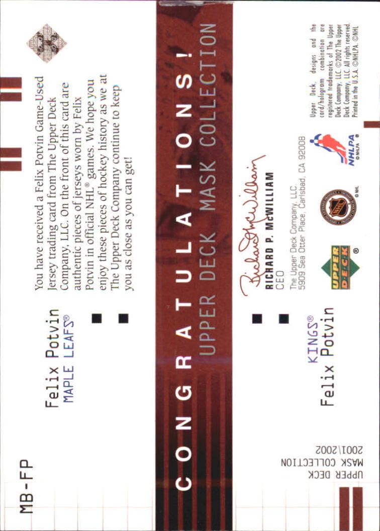 2001-02 UD Mask Collection Dual Jerseys #MBFP Felix Potvin/Double Jersey back image