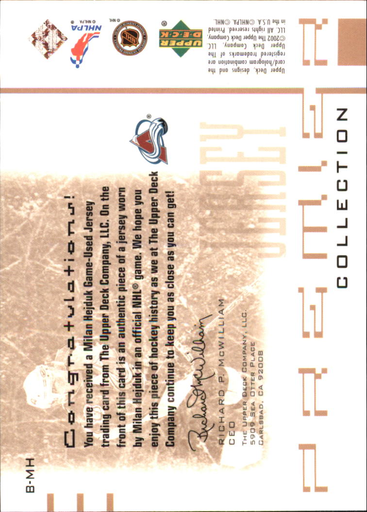2001-02 UD Premier Collection Jerseys #BMH Milan Hejduk B back image