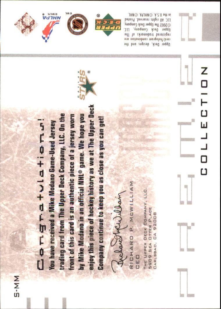 2001-02 UD Premier Collection Jerseys #SMM Mike Modano S back image