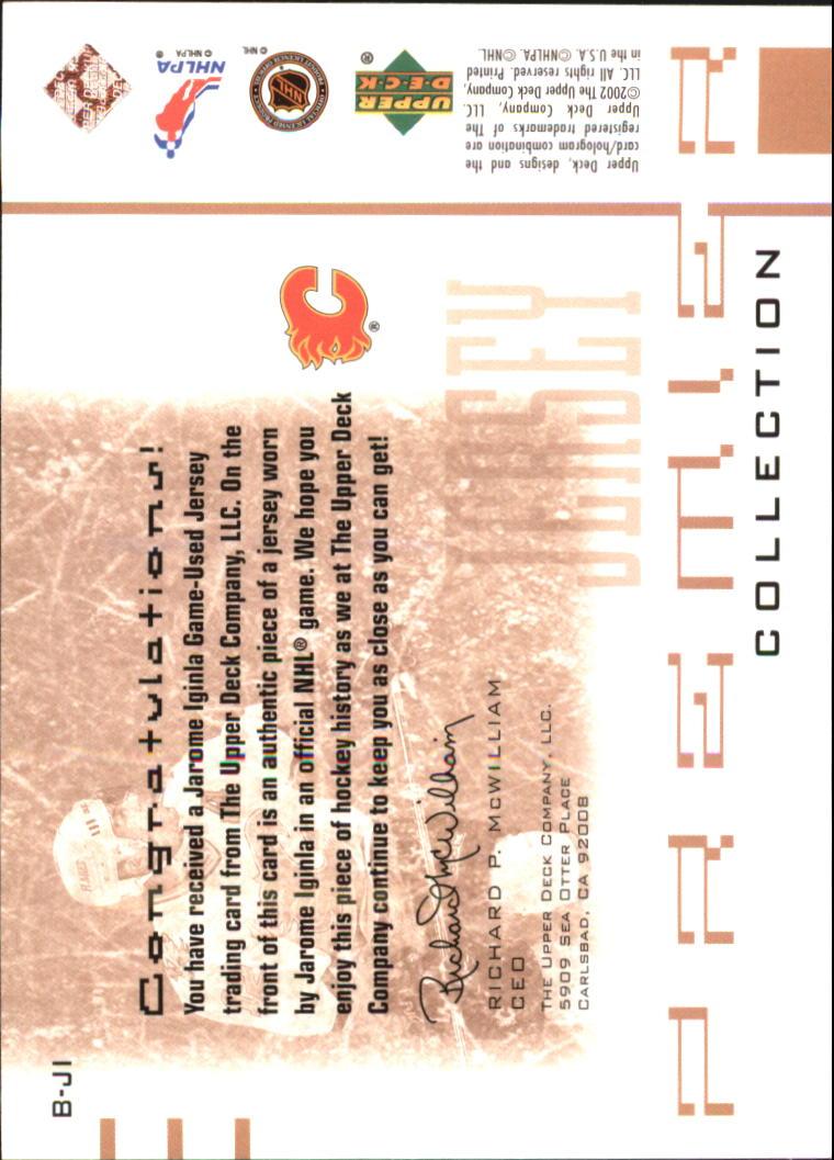 2001-02 UD Premier Collection Jerseys Black #BJI Jarome Iginla B back image