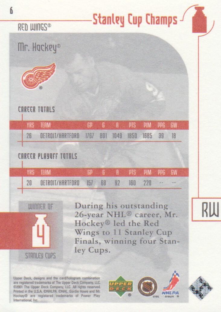 2001-02 UD Stanley Cup Champs #6 Gordie Howe back image