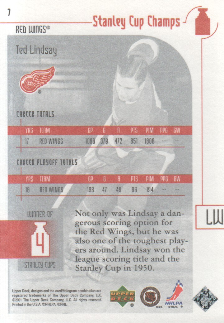 2001-02 UD Stanley Cup Champs #7 Ted Lindsay back image
