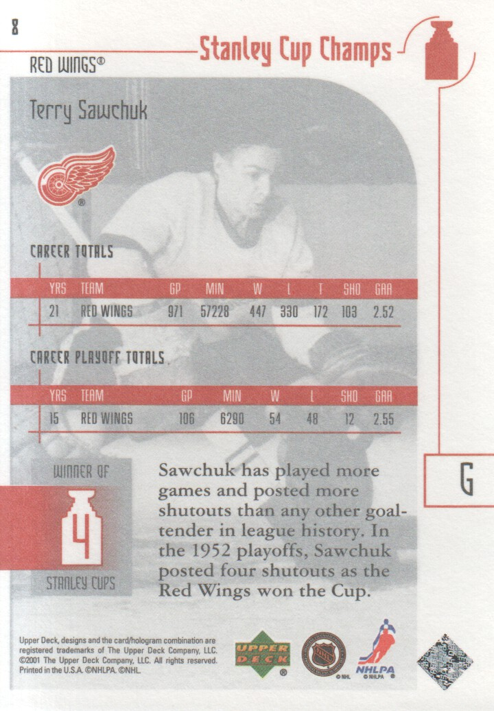 2001-02 UD Stanley Cup Champs #8 Terry Sawchuk back image
