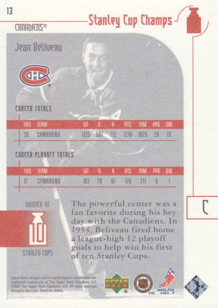 2001-02-UD-Stanley-Cup-Champs-Hockey-Cards-Pick-From-List miniature 3