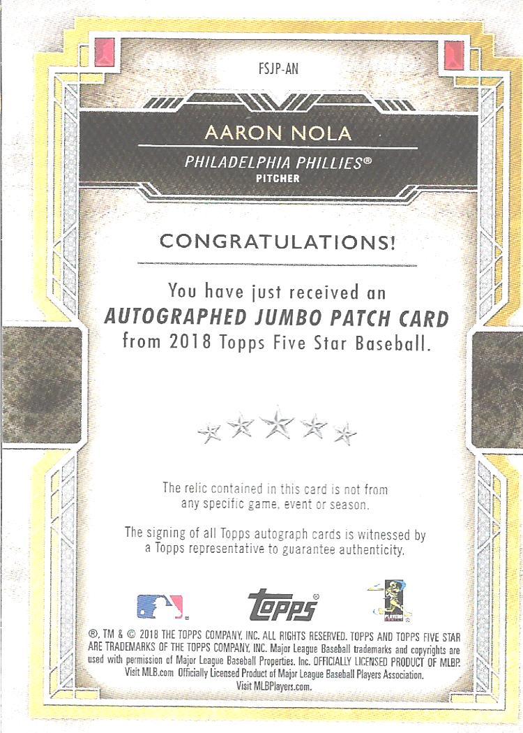 2018 Topps Five Star Jumbo Patch Autographs Gold #FSJPAN Aaron Nola back image