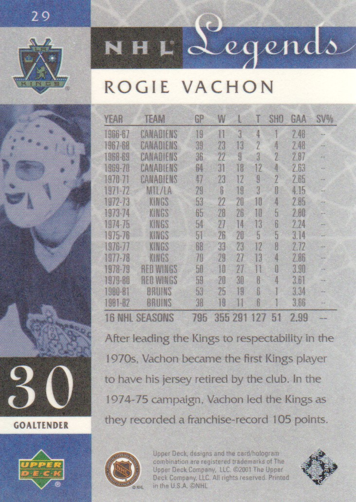 2001-02 Upper Deck Legends #29 Rogie Vachon back image