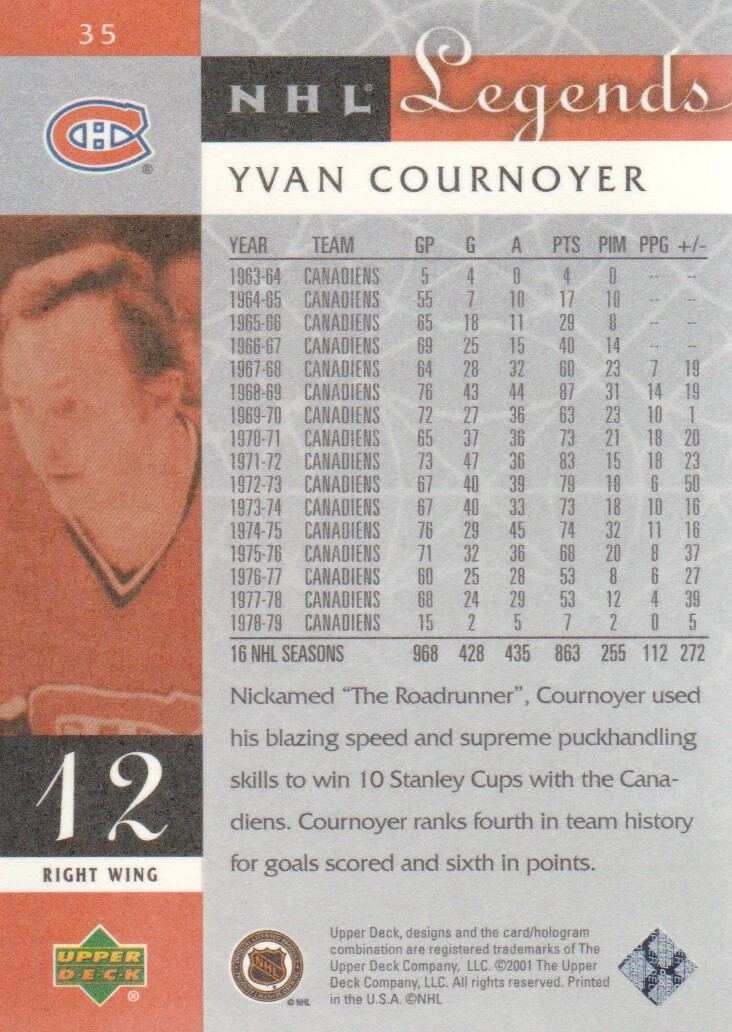 2001-02 Upper Deck Legends #35 Yvan Cournoyer back image