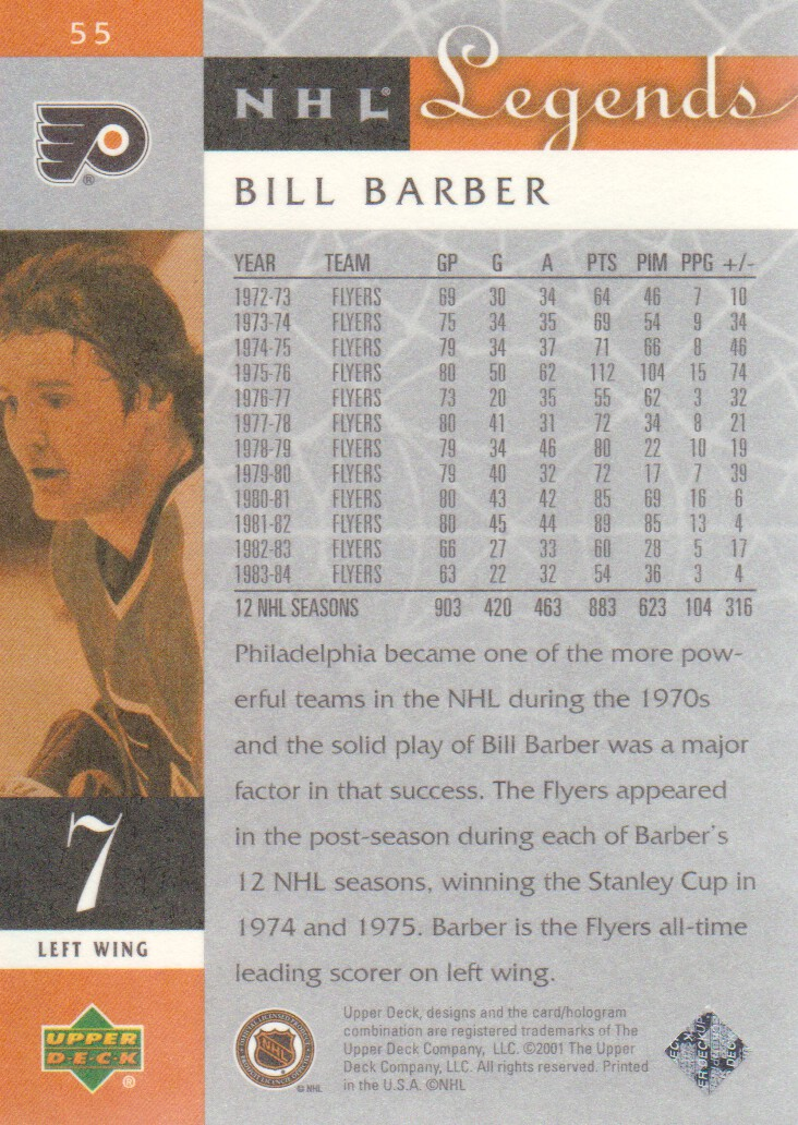 2001-02 Upper Deck Legends #55 Bill Barber back image