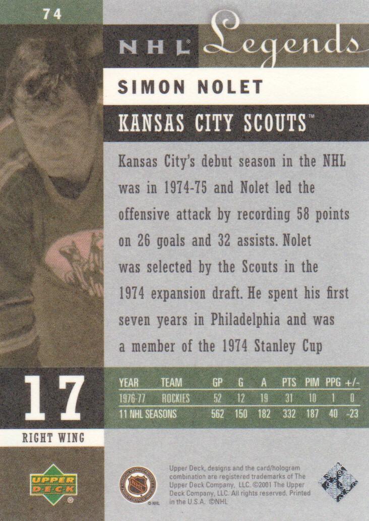 2001-02 Upper Deck Legends #74 Simon Nolet back image