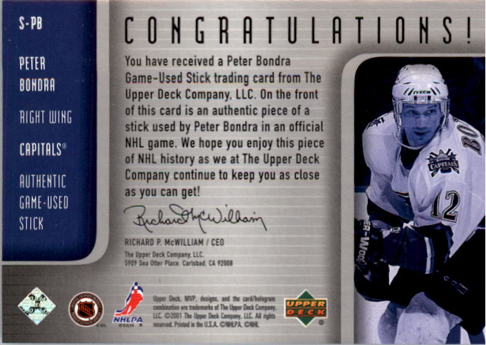 2001-02 Upper Deck MVP Souvenirs #SPB Peter Bondra back image