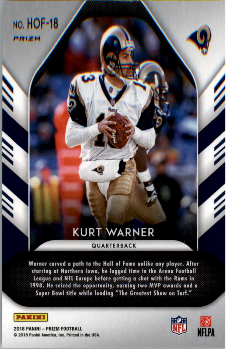 2018 Panini Prizm Hall of Fame Prizms Green #18 Kurt Warner back image