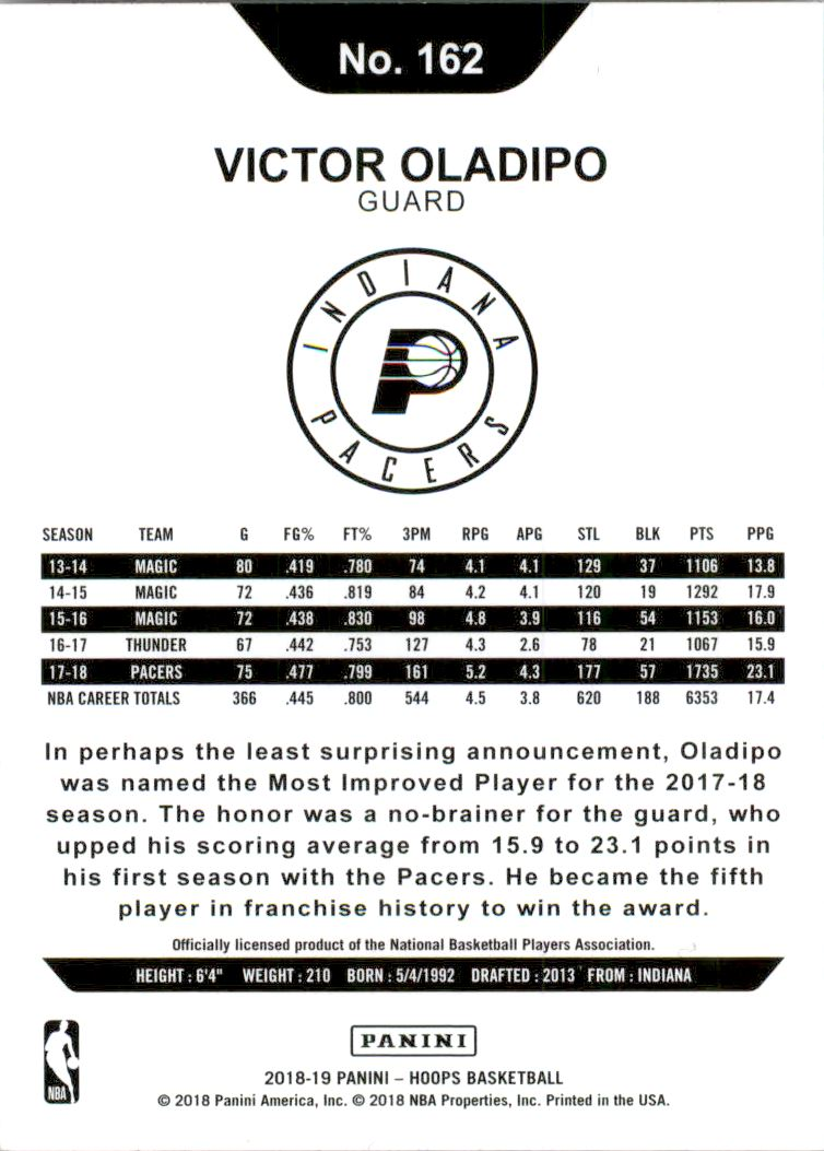 2018-19 Hoops Purple #162 Victor Oladipo back image