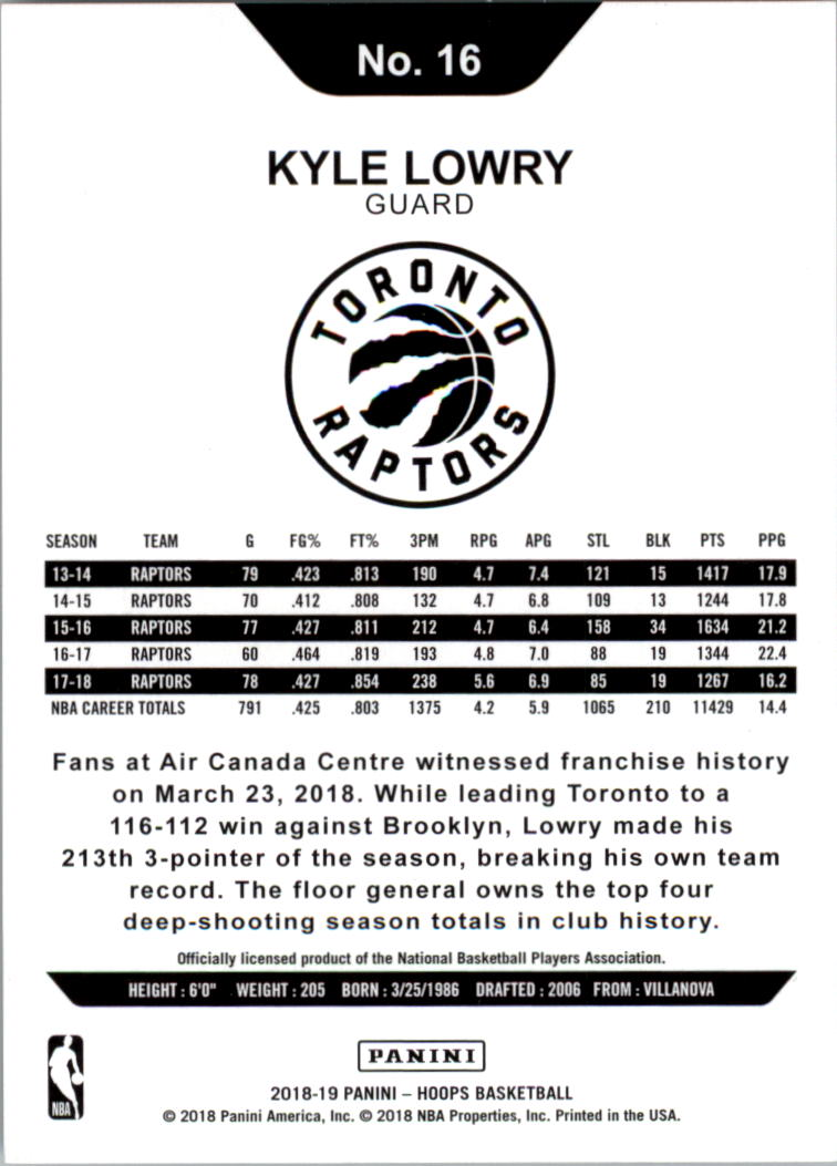 2018-19 Hoops Silver #16 Kyle Lowry back image