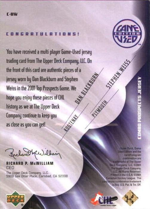 2001-02 UD Prospects Jerseys Gold #CBW D. Blackburn/S. Weiss back image