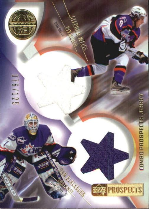 2001-02 UD Prospects Jerseys Gold #CBW D. Blackburn/S. Weiss