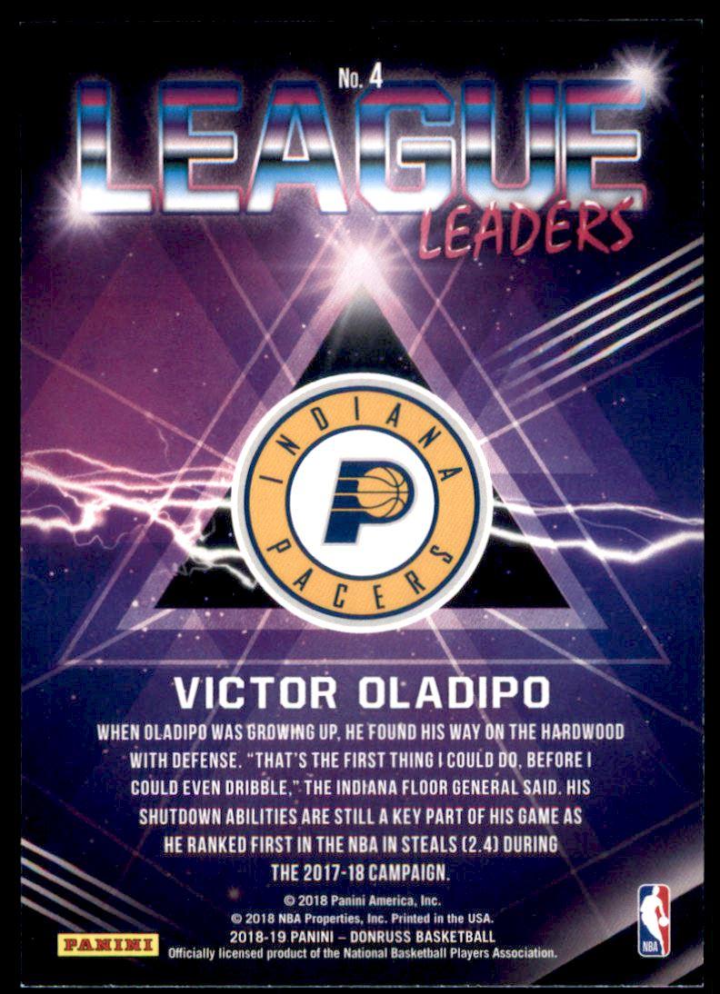 2018-19 Donruss League Leaders #4 Victor Oladipo back image