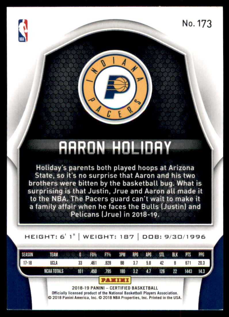 2018-19 Certified Mirror #173 Aaron Holiday back image