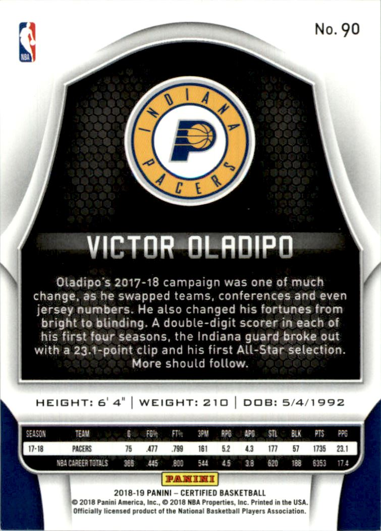 2018-19 Certified Mirror Orange #90 Victor Oladipo back image