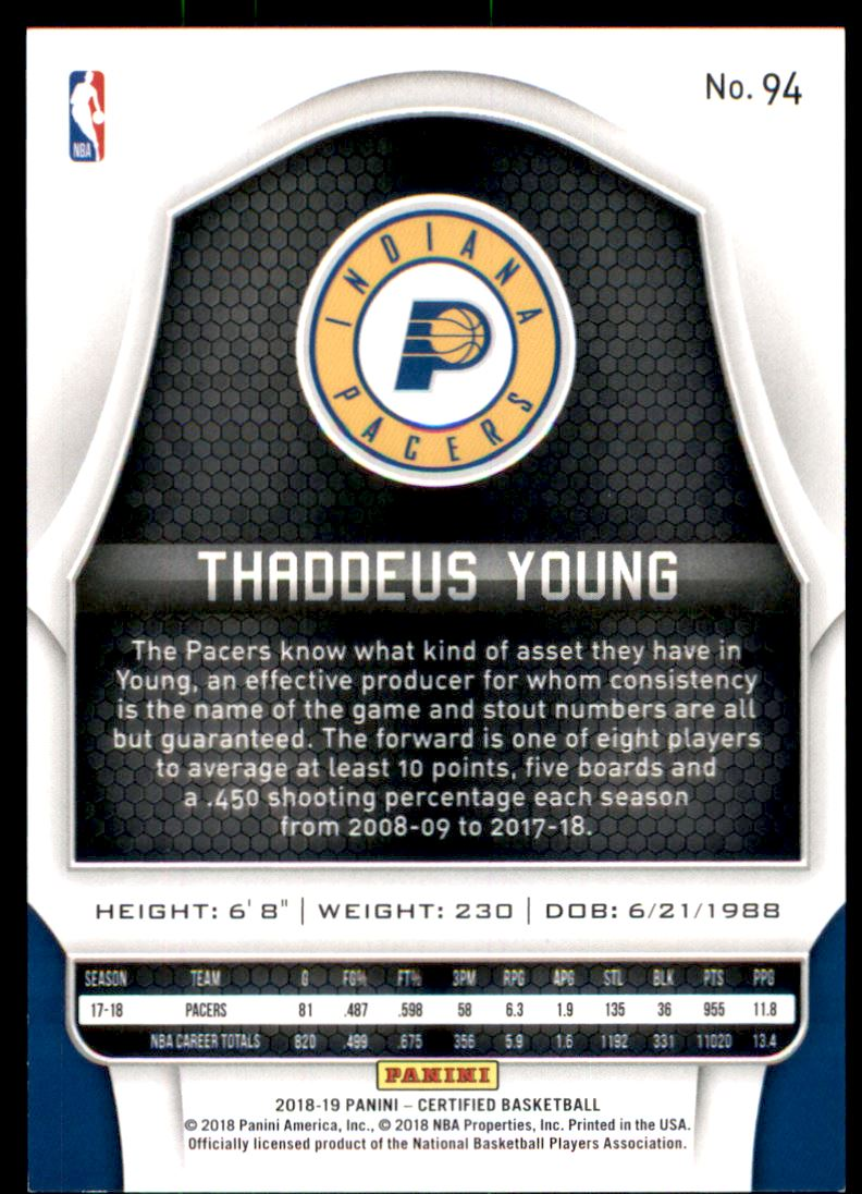 2018-19 Certified Mirror Purple #94 Thaddeus Young back image