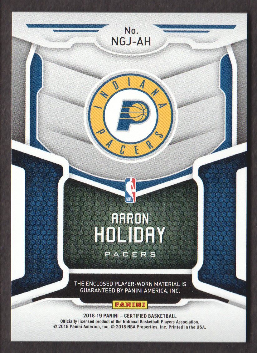 2018-19 Certified New Generation Jerseys #23 Aaron Holiday back image