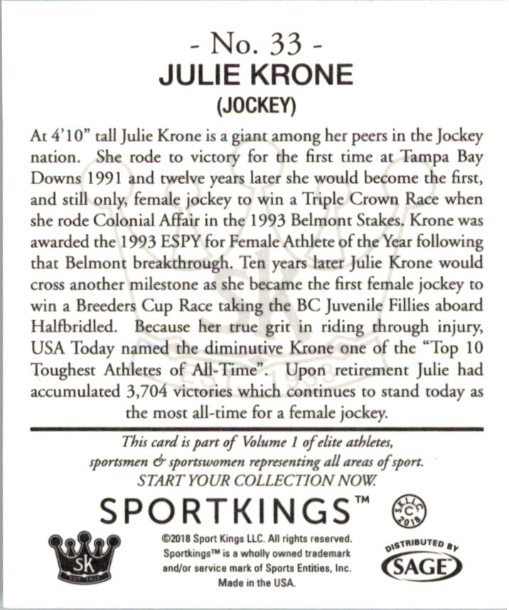2018 Sportkings Black Back Retail Mini #33 Julie Krone back image
