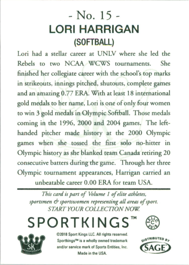2018 Sportkings Green Back Hobby #15 Lori Harrigan back image