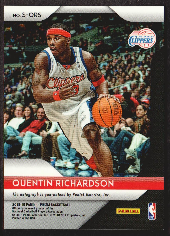 2018-19 Panini Prizm Signatures #43 Quentin Richardson back image