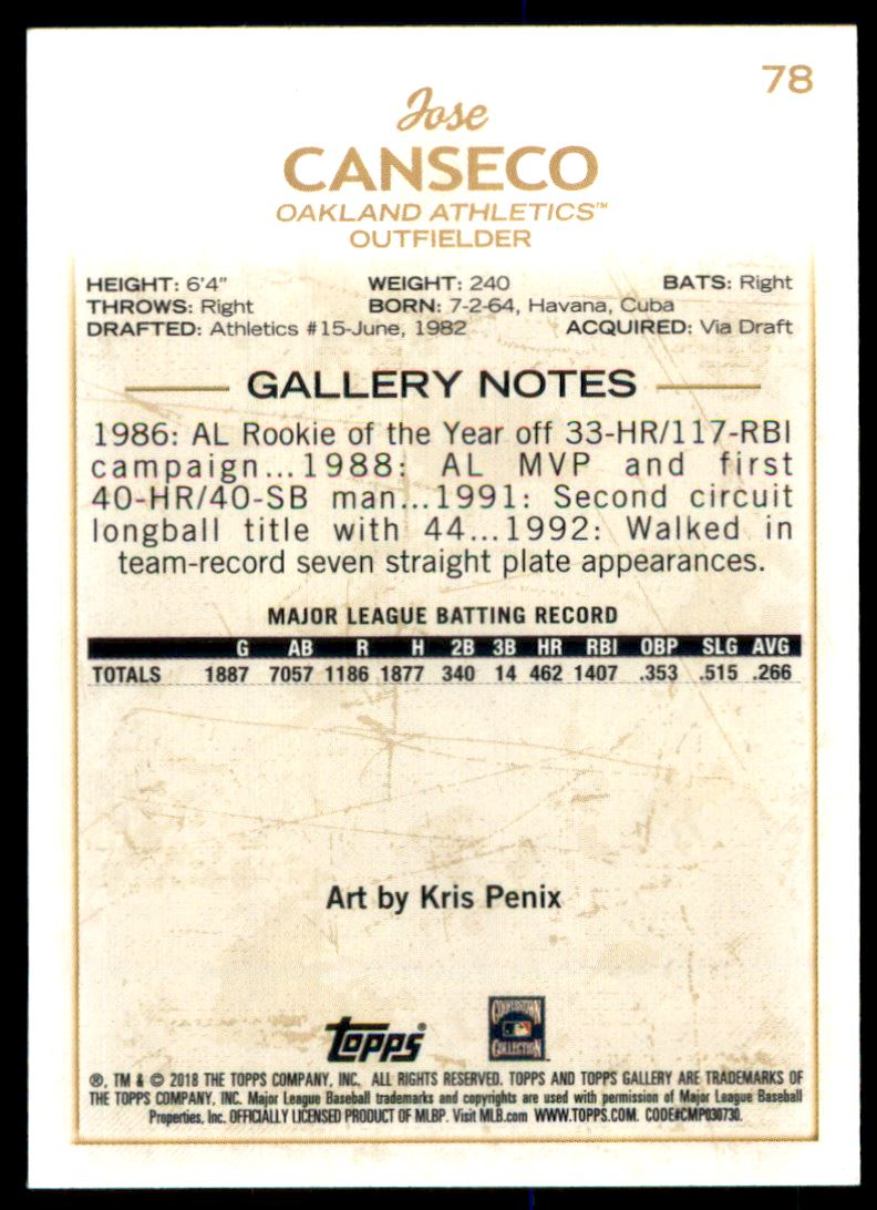 2018 TOPPS GALLERY JOSE CANSECO CANVAS OAKLAND ATHLETICS CARD # 78