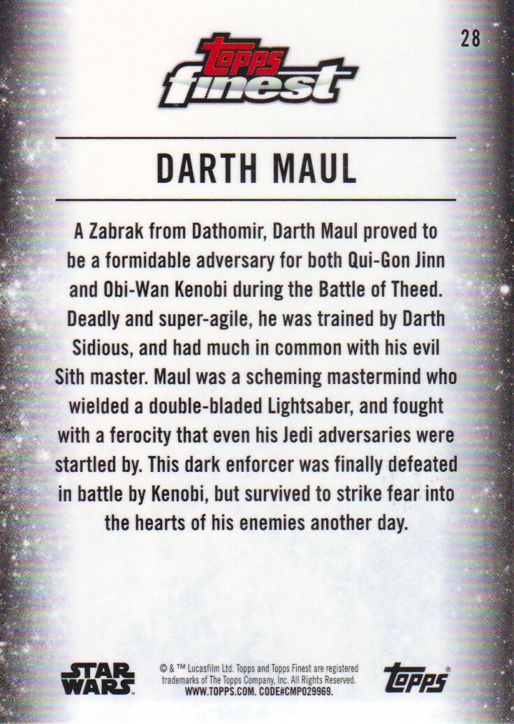 Star Wars Finest 2018 Base Card #28 Darth Maul