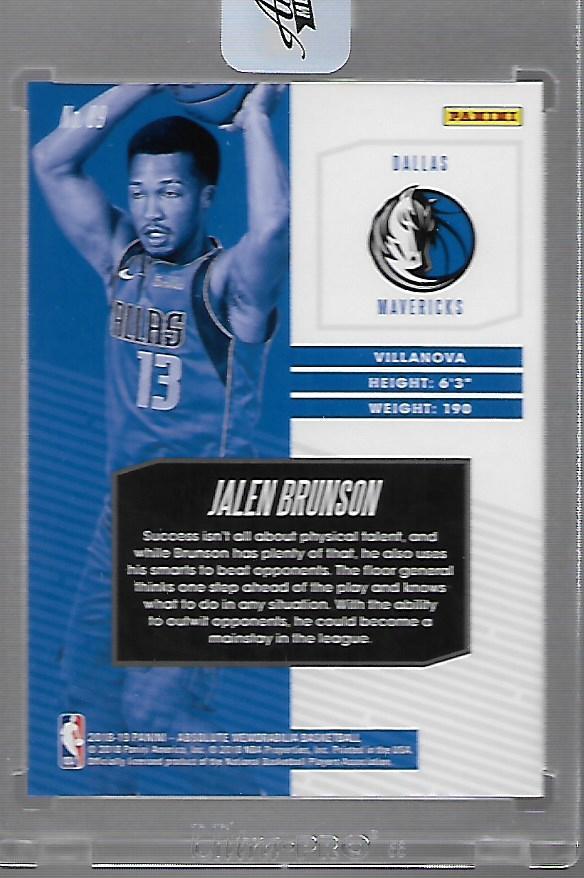 2018-19 Absolute Memorabilia #89 Jalen Brunson RC back image
