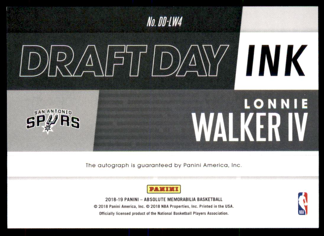 2018-19 Absolute Memorabilia Draft Day Ink #18 Lonnie Walker IV back image