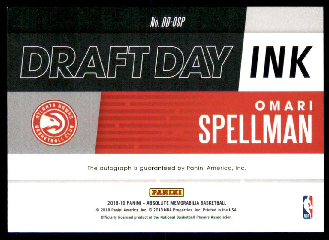 2018-19 Absolute Memorabilia Draft Day Ink #30 Omari Spellman back image