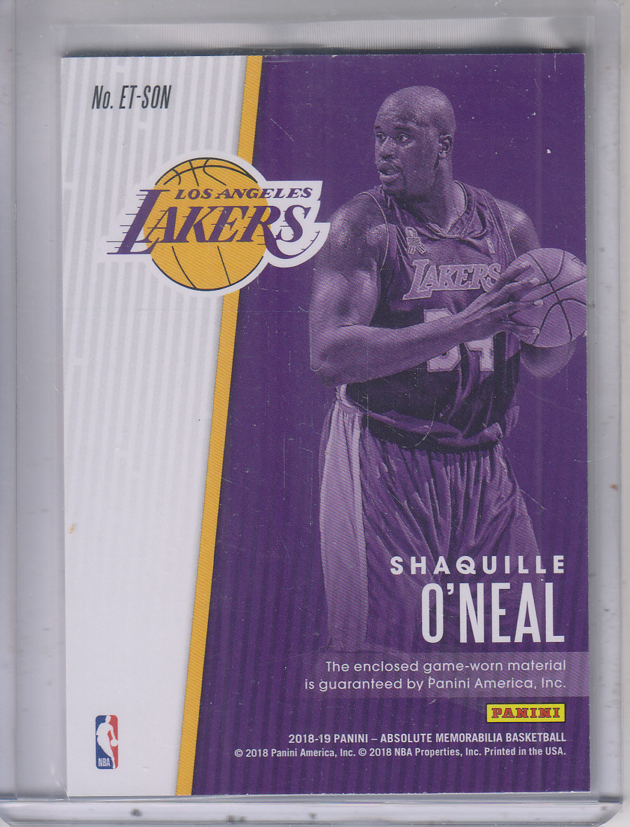 2018-19 Absolute Memorabilia Established Threads Level 2 #7 Shaquille O'Neal/149 back image