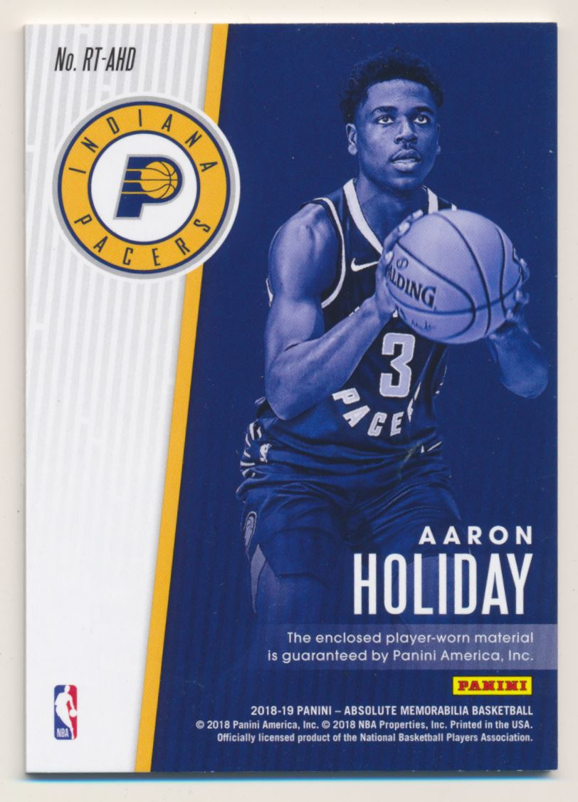 2018-19 Absolute Memorabilia Rookie Threads #23 Aaron Holiday back image