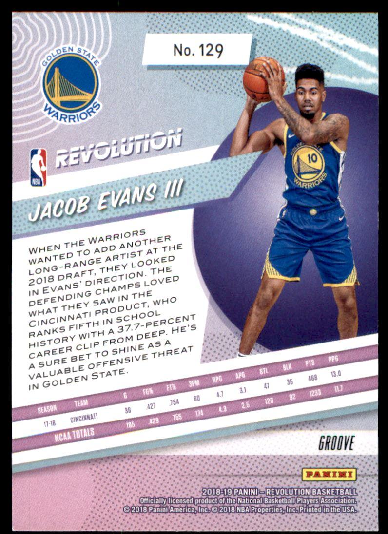 Back. Sport  Basketball  Set  2018-19 Panini Revolution Groove  Year  2018   Item   129  Player  Jacob Evans  Team  Golden State Warriors ... c66712b6c