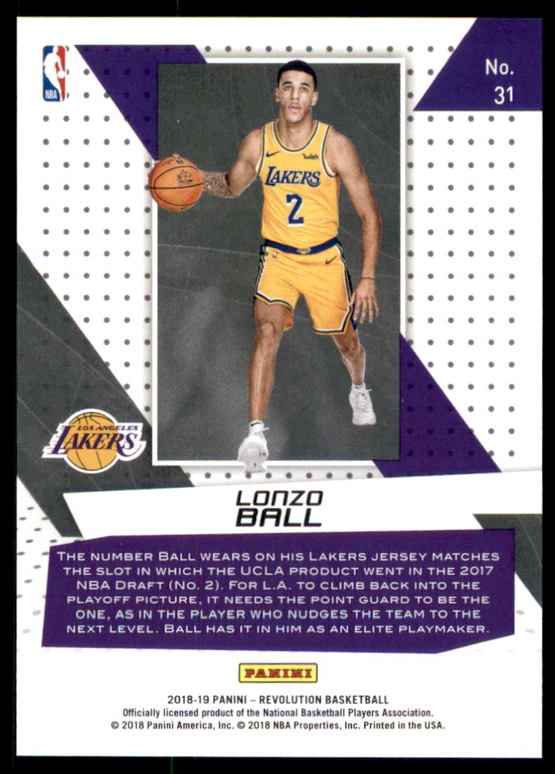 908008634d4 Back. Sport: Basketball; Set: 2018-19 Panini Revolution Vortex; Year: 2018;  Item#: 31; Player: Lonzo Ball; Team: Los Angeles Lakers ...